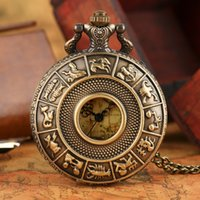 Wholesale Digital Fob Watches - Twelve Constellations Theme Australia Map Pattern Dial Quartz Fob Pocket Watches Pendant with Necklace Chain Gift For Men