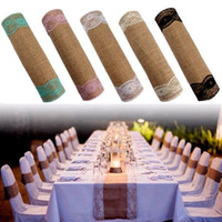 Wholesale wedding decoration online - Wedding Table Decoration Wedding Favors cmx280cm Vintage Rustic Burlap Hessian Lace Table Runners Wedding Decoration white Decoration