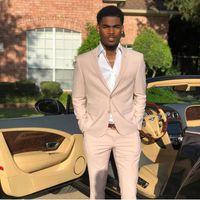 şampanya balo takımları toptan satış-Şampanya Erkek Takım Elbise Slim Fit İki Adet Ucuz Yaz Groomsmen Düğün Erkekler Için Smokin Doruğa Yaka Örgün Balo Parti Suit (Ceket + Pantolon)
