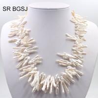 collar llamativo plata blanca al por mayor-Envío gratis talon forma cultivada blanco perla nudo de plata 925 corchete señora joyería collar de declaración 19