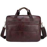 Wholesale laptops black red online - 2018 Genuine Leather mens bags Crossbody Bags Casual Totes Men Briefcases inch Laptop messenger bag men s shoulder bag handbag
