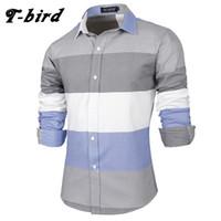 modelos de camisa slim fit al por mayor-T-bird 2018 Camisas de vestir de la marca Camisa de franela a rayas de algodón Slim Fit Chemise Camisa de manga larga Hombres Camisas de modelo nuevo Tops XK