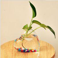 ingrosso piante di terrario-4pcs a forma di cuore appeso vaso di vetro appeso vaso appeso a parete fiore pianta creativa contenitore di nozze decorazione della casa terrario