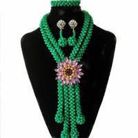 conjuntos de roupas de contas venda por atacado-Verde Roupas Femininas Declaração de Casamento Colar de Cristal Nupcial Beads Conjuntos de Jóias de Jóias frisado Africano Nigeriano Beads set