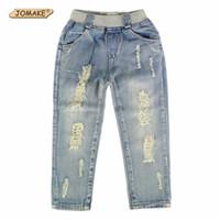 niños jeans niñas años al por mayor-2018 Nuevo estilo Niños Jeans Niños Niñas Pantalones Diseñador de moda de otoño Niños Pantalones de mezclilla Pantalones vaqueros rasgados para 2 ~ 9 años
