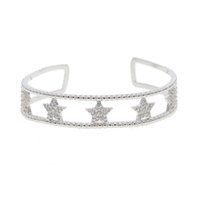 сверкающие звезды оптовых-Мода богемные ювелирные изделия двойной слой браслет браслет без очков звезды с shinning cz очарование открытый браслет манжеты для женщин Новый