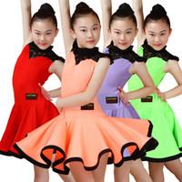 mädchen fringe kostüm großhandel-Kinder Latin Dance Dress Lace Mädchen Fringe Dance Kostüm Wettbewerb Performance Dress