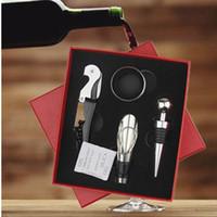Wholesale wine opener gift box - Wine Bottle Opener Kit 4pcs Set Drip Ring Pourer Corkscrew Stopper Gift Box Wine Tool Sets DDA650