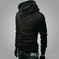 korea hoodie männer großhandel-HOT Monde Korea zurück zu Shool Oblique Reißverschluss Herren Hoodie Herren Jacke Herren Mantel 4 Farben schwarz plus Größe Herren Mäntel