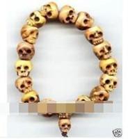 geschnitzte schädelperlen großhandel-Freies Verschiffen tibetanischer Knochen geschnitzt Schädel Gebetskette Armband
