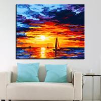 ingrosso pittura ad olio astratta di arte astratta-Dipinto di numeri DIY Tramonto Glow Sea Sailing Oil Immagini su tela Home Decor Abstract Coloring Seascape Wall Art Framework
