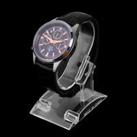 pulseira de relógio de acrílico venda por atacado-Atacado-1ps claro acrílico pulseira relógio exibição titular suporte rack loja de varejo vitrine top quality