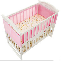 Wholesale pink cot beds resale online - Pink Breathable Infant Baby Air Pad Cot Bumper Mesh Protection Cover Baby Toddler Safety Bedding Supplies x70cm