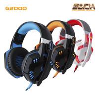 ingrosso cuffie di gioco del bluetooth-Nuovo EACH G2000 Deep Bass Cuffie Stereo Surround Over-Ear Gaming Headset Fascia auricolare con luce per PC LOL Game