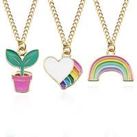 Wholesale enamelled pots - Cartoon Potted Plants Colorful Heart Rainbow Pendant Charm Necklace Enamel Female Necklaces For Women Creative Christmas Gifts