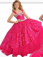 corsé rosa para niños al por mayor-Sparkly Hot Pink Girls Vestidos del desfile Baratos vestidos de bola de tela con lentejuelas Corset espalda con cuentas larga fiesta de graduación vestidos para niños niñas