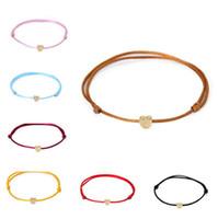 brazaletes de cuerda al por mayor-Nueva Lucky Gold Plated Charm Colgante Pulsera Hilo Cuerda Cuerda Charm Bangle Cuff Bracelet Para Mujeres Hombres Regalo de la joyería