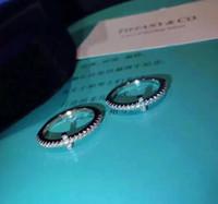 кольца новые конструкции оптовых-1: 1 новое поступление S925 чистого серебра Высочайшее качество парижский дизайн женщины кольцо все алмазный крест стиль украсить печать логотипа шарм женщины ювелирные изделия PS6439