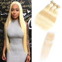 Wholesale cheapest extension hair weave online - HCDIVA Blonde Straight Bundles With Closure Peruvian Free Part Remy Human Weave Hair Extension inch Double Weft Cheapest Pric