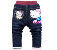 ingrosso modello jeans bambino-Bambini Jeans Inverno Lovely Cat Bambini Pantaloni Casual pantaloni Baby Girls Jeans Cute Cartoon Pattern 1-5 anni