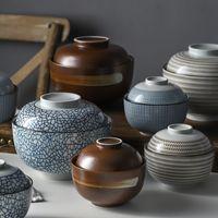Wholesale japanese soup bowls resale online - Zen Spirit Japanese Bowl with Lid for Rice Noodle Soup Vintage Underglaze Handmade Ceramic Bowls Stew Tureen inch inch