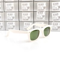 lunettes de soleil vertes monture blanche achat en gros de-Lunettes de soleil de haute qualité Plank White Frame Green Lens Lunettes de soleil charnière métallique Lunettes de soleil Lunettes de soleil pour hommes Lunettes pour femmes unisexe Lunettes de soleil