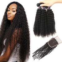 Wholesale best quality human hair weft resale online - Best Quality A Brazilian Kinky Curly Hair With Lace Closure Cheap Malaysian Peruvian Human Hair Weave Bundles Deals
