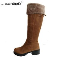 botas de nieve rusas al por mayor-2017 botas de nieve de invierno rusas de espesor con botas de caballero Marca botas largas zapatos de mujer de moda de gamuza de alta calidad más el tamaño 34-44