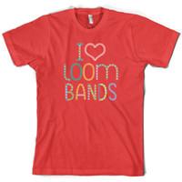 Wholesale rainbow loom online - I love Loom Bands Mens T Shirt Rainbow Colours S XXL