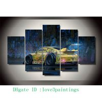 Wholesale oil painting framed landscape yellow - Graffiti Yellow Car,5 Pieces Home Decor HD Printed Modern Art Painting on Canvas (Unframed Framed)