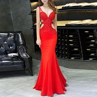Wholesale jersey knit evening gowns - Red Crystal Spaghetti Strap Long Evening Dress 2018 Backless V-neck Mermaid Prom Formal Dresses Celebrity Party Gowns vestidos de fiesta