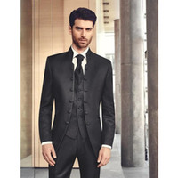 Wholesale notch collar slim fit suits - Stand Collar Wedding Mens Suits Slim Fit Bridegroom Tuxedos For Men Three Pieces Groomsmen Pant Suit Notched Lapel Formal Business Jackets