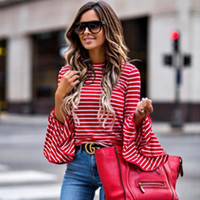 Wholesale women one piece clothing online - Trendy women clothes Ladies Striped Long Sleeve round neck Blouses Casual pullover Loose Polyester Shirts one pieces