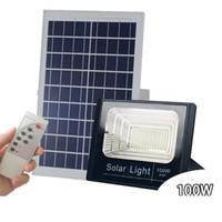 açık led flood armatürleri toptan satış-Güneş Enerjili LED Sel Işıkları 10 W 40 W 60 W 100 W Uzaktan Kumanda Açık Duvar Bahçe Yard için Su Geçirmez Güneş Güvenlik Işıklandır ...
