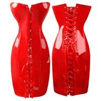 cuir rouge sexy achat en gros de-Costume de fête en gros Burlesque Plus Size Lace Up Satin Noir Rouge Corset robe Corselet Faux Cuir Mulheres Lingerie Sexy