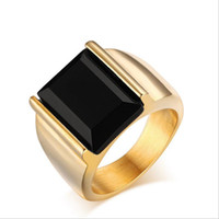 Wholesale Electroplated Rings - Titanium steel men's ring electroplating 18K gold men's ring fashion men's K gold ring