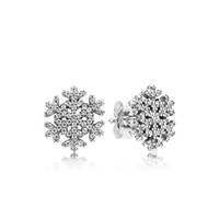 Wholesale 925 silver snowflake jewelry for sale - Group buy Authentic Sterling Silver Shiny snowflakes Earring logo Signature Original Box set for Pandora Jewelry Stud Earring Women Earrings