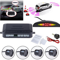 auto alarmanlagen großhandel-Auto LED Einparkhilfe Rückfahrradar Monitor System Hintergrundbeleuchtung Display + 4 Sensoren Auto Alarm Sicherheit GGA265