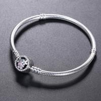 Wholesale bracelet flowers resale online - 925 Sterling Silver BRACELET bloom flower enamel Clasp for Pandora Jewelry Charm Bracelet Original box Women Wedding Bracelets