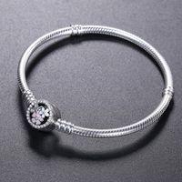 ingrosso fascino fiore smaltato-Braccialetto in argento sterling 925 BRACCIALE fiore fiore smalto Chiusura per bracciale di gioielli Pandora Bracciale originale bracciali da donna