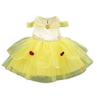 vestido justo venda por atacado-Crianças Traje Cosplay Princesa Vestido Fair Gilrs Amarelo Festa de Aniversário Vestidos de Casamento Para O Dia Das Bruxas Natal HH7-1130