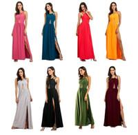 Wholesale dress evening code - Women sexy backless evening dress women plus big code solid color halter criss-cross one piece long dress plus size Party Dresses KKA4059