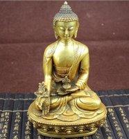 ingrosso buddha d'ottone tibetano-Cina Tibet tibetano ottone medicina statua di Buddha
