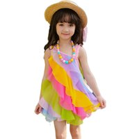 Wholesale kids cute lace short gown for sale - Group buy Girls Dresses Summer Fashion Children s Rainbow Lace Clothing Cute Sleeveless Ball Gown Kids Baby Sundress Clothes Ds297