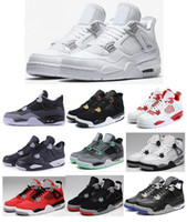 Wholesale Green 4s - High Quality 4 4s Pure Money Alternate 89 Oreo Toro Bravo Basketball Shoes Men Black Cat Fear Green Glow CAVS Sneakers With Box