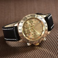 Wholesale Mens Grey Leather Belt - relogio aaa wholesale Top brand automatic calendar mens luxury watch fashion designer digital dial gold diamond watches leather belt clock