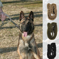 Wholesale harness pets online - Tactical Dog Rop Collars Leashes Harness Outdoors Portable Telescopic Canine Traction Belt Training Band Pet Supplies Pure Color tq bb