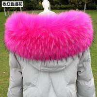 büyük kürk ceket ceketi toptan satış-Lady Blinger süper büyük kabarık faux kürk yaka kadın kış sahte kürk kaput yaka erkekler ceket DIY büyük rakun kürk yaka scaves Y18102010