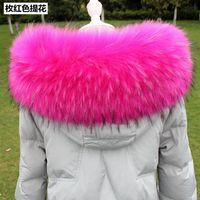 ingrosso grande cappotto di pelliccia-Lady Blinger super big lanuginoso colletti in pelliccia ecologica donne inverno falso cappuccio di pelliccia colletto giacca da uomo FAI DA TE grande collo di pelliccia di procione scavini Y18102010