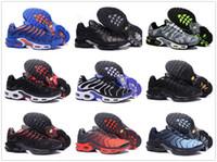 кд обувь размер мужчины пасхальные оптовых-nike TN plus air max airmax 2018 Новые кроссовки Мужчины TN Обувь tns plus Мода Увеличенная вентиляция Повседневные тренеры Оливковые красные синие черные кроссовки Chausseures